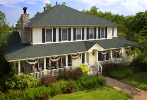 Colonial-style home with beautiful asphalt shingle roofing system
