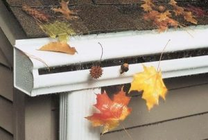Sloped hood protecting the gutter troughs from leaves and other debris
