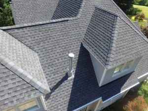 Aerial view of an asphalt shingle roofing system